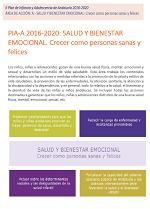 Clic para descargar PIA-A 2016-2020: SALUD Y BIENESTAR EMOCIONAL. Crecer como personas sanas y felices